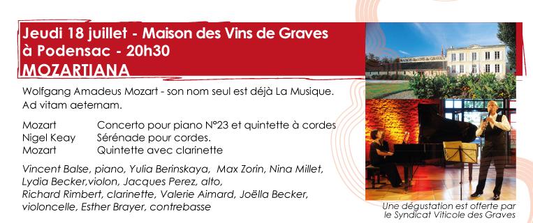 18 juillet - Maison des vins de Graves  – MOZARTIANA